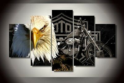 Framed Picture Harley Davidson Motor Cycles Eagle Printed Canvas Home Decor Wall
