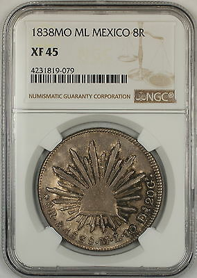1838-DO ML Mexico 8 Reales Silver Coin NGC XF-45