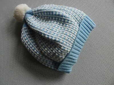 vintage retro true 50s unused baby toddler blue knit hat beanie beret NOS