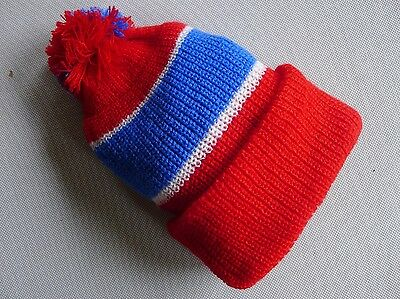 vintage retro true 60s unused red knit hat beanie 1 - 2 yo toddler NOS very warm