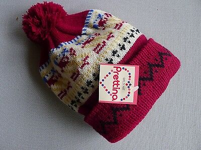 vintage retro true 70s unused 4 - 6 yo red knit hat beanie girls NOS childrens