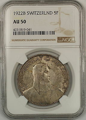 1922-B Switzerland 5 Francs Silver Coin NGC AU-50