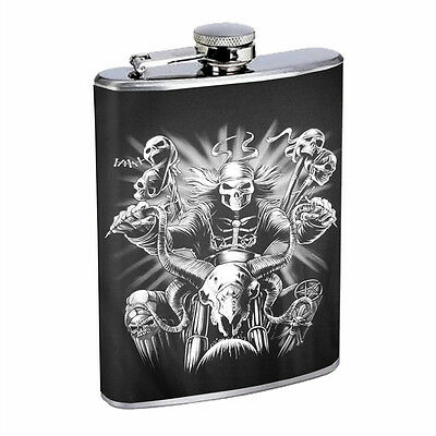 Skull Flask D7 8oz Stainless Steel Scary Horror Death Frightening