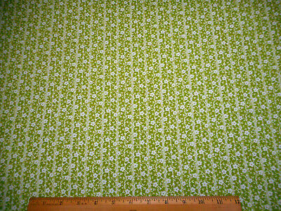 Floral Fabric BTY Yard White Flowers & Vines on Dk Lime Green Quilting Cotton #C