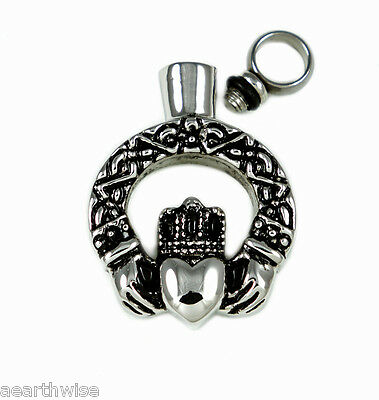 CLADDAGH LOVE VIAL KEEPSAKE PENDANT - ASHES SPELLS Wicca Pagan Witch Goth