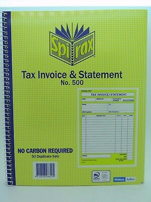 2 x Spirax 500 Tax Invoice & Statement Book 50/Dup 250x200mm 1/View 56500.