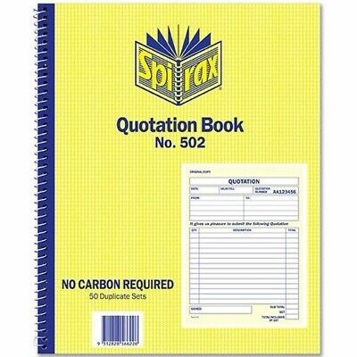5 x Spirax 502 Quotation Book 50/Dup 250x200mm 1/View 56502