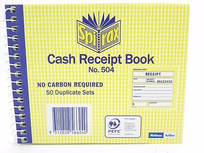 1 x Spirax 504 Cash Reciept Book Carbonless 50/Dup 102 x 127mm 1/View 56504