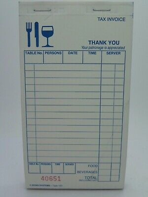 10 x Zions 15D- Carbonless Duplicate Restaurant Docket Book 15D
