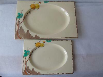 "Rare Clarice Cliff Royal Staffordshire Biarritz Passion Fruits Platters 12""&16"""