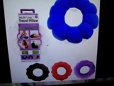 Microbead Travel Pillow Multi Use Neck Lumbar Cushion Support Car Flight Rest !