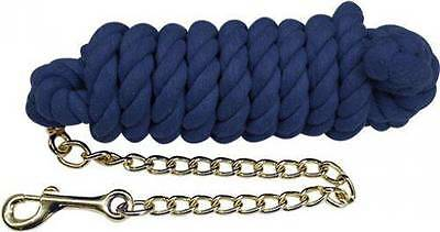 """10' x 5/8"""" BLUE Braided Cotton Lead w/ Brass Chain and Snap! NEW HORSE TACK!"""