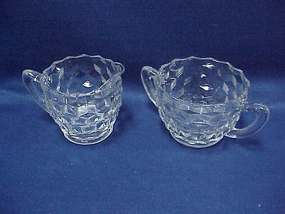 Vintage Jeanette Cubist Depression Glass Clear Sugar Bowl & Creamer Pitcher