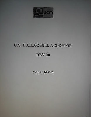 JCM Bill Acceptor (Changer) DBV-20  39 Page Manual PDF sent by email