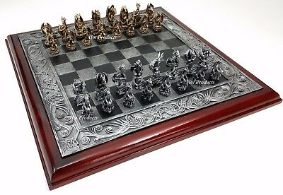 "PEWTER METAL Dragon Fantasy Chess Set W Medieval Times Celtic 18"" Board"