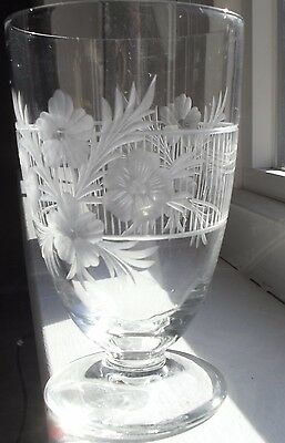 Vintage Cut Glass Footed Tumbler