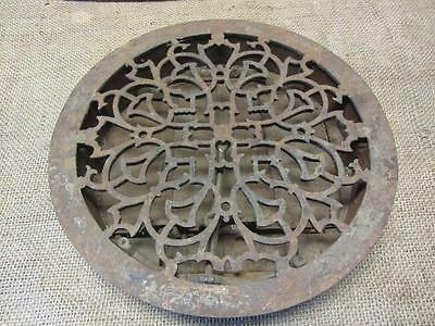 Vintage 1800's Ornate Cast Iron Round Register Grate w Louvers Antique Old 9417