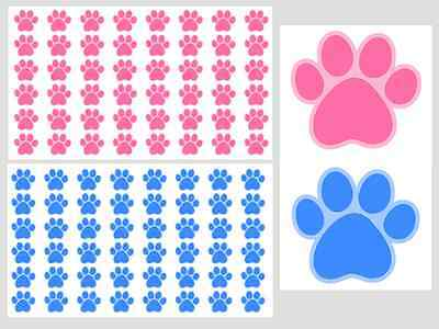 Paw Print Stickers, 2 Sheets, Pick Your Colours, 96 Stickers For Any Planner