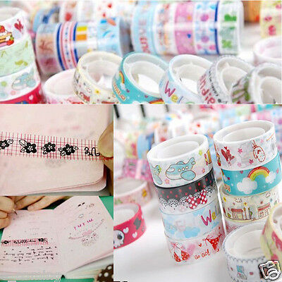 10pcs Kawaii Cute Mixed Colors Washi Tape Hobby Decorative Crafting Tape Scrap