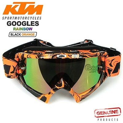 KTM Motocross Sports Bike Goggles Black Frame Rainbow Lens Adjustable Strap