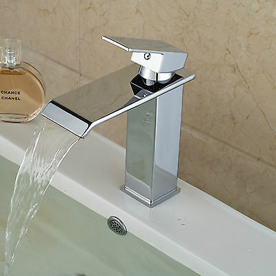 Modern Square Waterfall Spout Bathroom Basin Faucet Vanity Sink Mixer Tap NEW