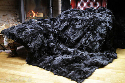real fur toscana shearling lambskin blanket throw 78x61 inch black lined