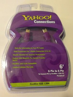 Yahoo Connections 6' Fire Wire Ieee 1394 6 Pin To 6 Pin Computer Cable Nip