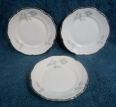 Hutschenreuther Sylvia Gray Rose 8765 Lot of 3 Bread Plates 6 1/4 inch