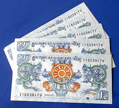 Lot (5) 2014 Bank of Bhutan 1 Ngultrum Banknotes P#27 Con Serial Mint CU Set# 4