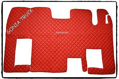 "Full Floor Mat For Renault Magnum  ""eco Leather""  In Red Colour"