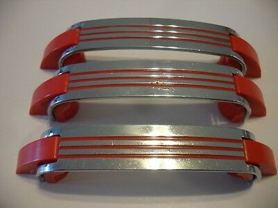 3 Vintage CHROME DRAWER Door Pulls RED Lines Early Plastic Trim Art Deco Amerock