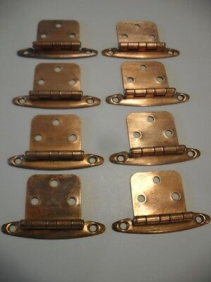 Vintage COPPER Plated Steel Cabinet Door HINGES Flush Mounted Type Four Pair
