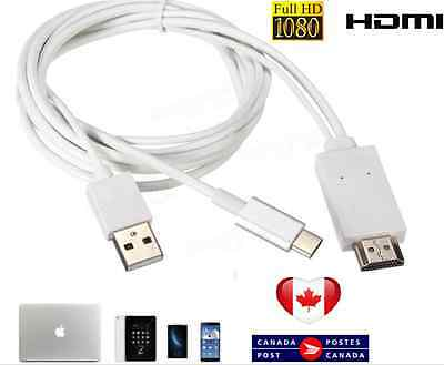 MHL USB 3.1 Type C Male to HDMI 1080P HD HDTV Convert Cable Adapter 3 IN 1