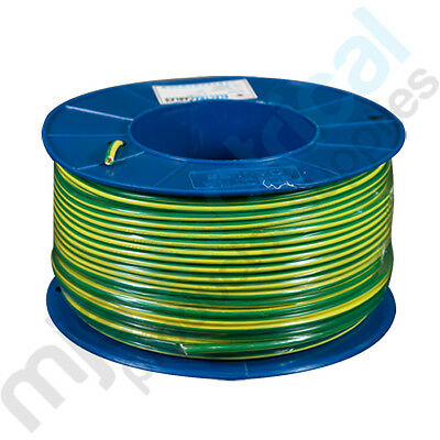 4.0mm Earth (Green/Yellow) Building Wire Electrical Cable NEW 100mtrs