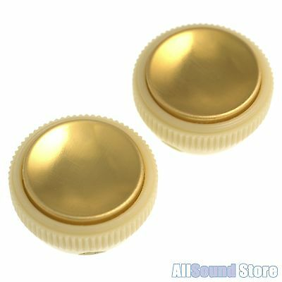 NEW Hofner Tea Cup Teacup Knobs, SET OF 2 - Off-White & Gold Beatle Bass Guitar