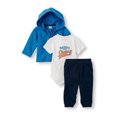 The Children's Place Daddy's Little Champ Bodysuit, Zip-Up Hoodie And Pants Set