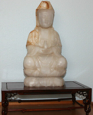 Large Chinese Hand Carved Natural White Jade Kwan Yin Statue w/Rosewood Stand