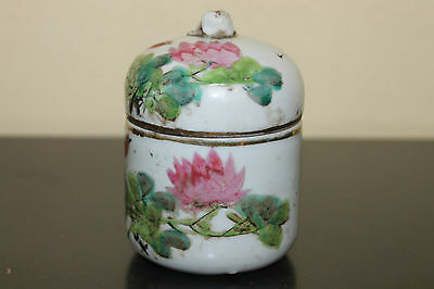 Antique Chinese Porcelain Lidded Jar or Tea Caddy Floral Bird Painting Late Qing
