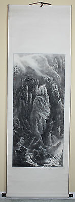 Vintage Chinese Watercolor Landscape Painting Scroll Signed