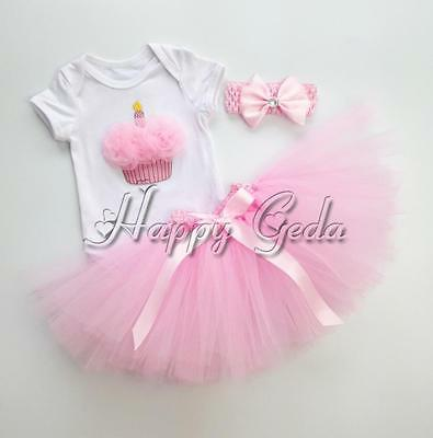 3PCS Baby Girls Cake Romper Tutu Skirt Headband Set 1st Birthday Outfit Clothes