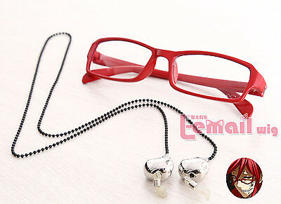 Grell Sutcliff Red Skull Chain Glasses Black Butler Cosplay Accessorie Prop
