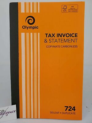 10 x Olympic #724 Invoice & Statement Book Duplicate 200x125mm 50Lf 140870.