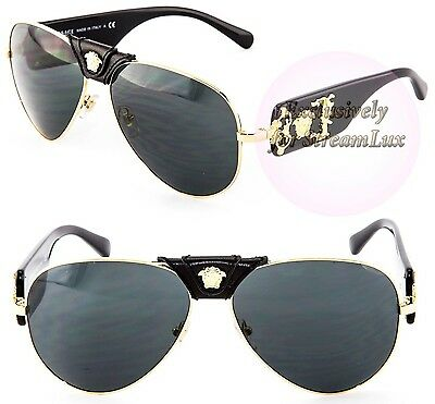 987f8ce2c VERSACE Aviator Gold Black Sunglasses VE 2150-Q 1002/87 by LADY GAGA for