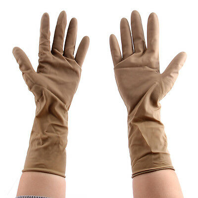 High Quality Latex Rubber Gloves Kitchen Household Washing Up Gloves Brown
