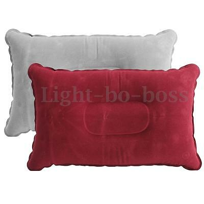 Coussin Gonflable Floqué Bed Oreiller Voyage Air Camping Avion outdoor 42x24cm