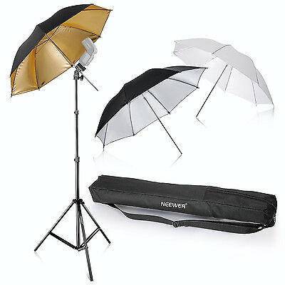 "Neewer Photo Studio Three Umbrella Kit 33""/84cm for Product,Portrait,Video Shoot"