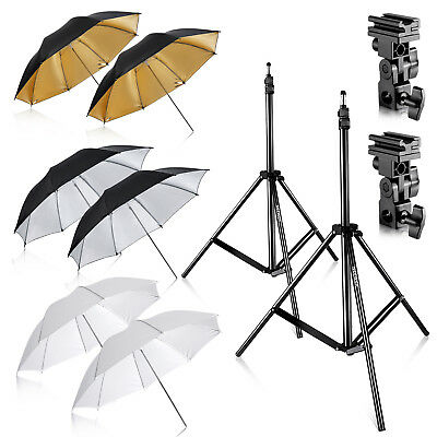Neewer Photo Studio 2-pack Three-Umbrella Kit with 6.89ft Light stand