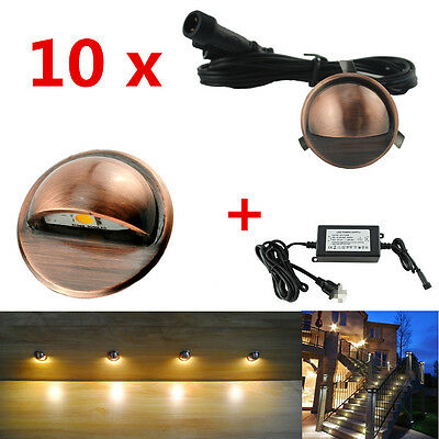 10pcs 12V Coppering Half Moon Outdoor Garden Stair Path LED Deck Step Lights Kit