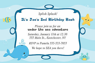 30 Invitation Under The Sea Whale Boy Birthday Party Card Invite Personalized A1