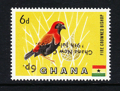 GHANA 1965 6p ON 6d SURCH. INVERTED SG 385a MNH.